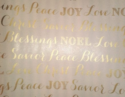 Christmas gift wrapping - gold words on white
