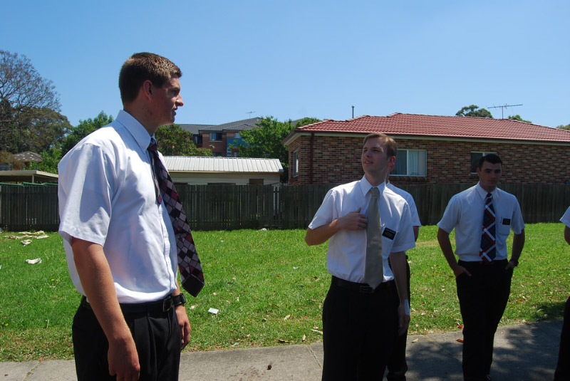 Elder Ferguson (middle) speaks as Elder Collinsworth (left) looks on. Photo courtesy of President and Sister Scruggs (10-18-'08).