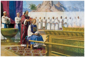 Moses confers the priesthood upon his brother Aaron.