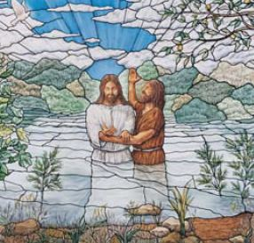 The Baptism of Jesus: Stained glass window from Nauvoo, Illinois Temple.