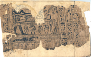 Papyrus Joseph Smith I, containing the original illustration of facsimile 1 from the Book of Abraham.