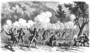 A 19th century depiction of the Mountain Meadows Massacre, printed in T. B. H. Stenhouse's book The Rocky Mountain Saints (1873).