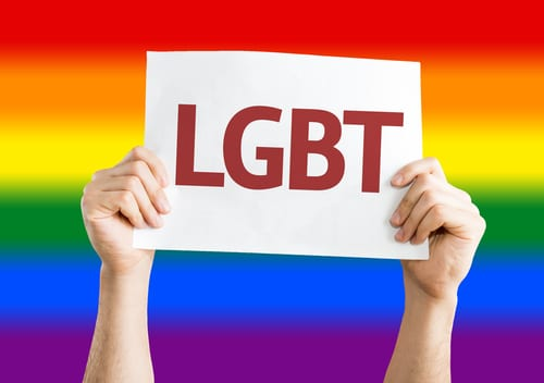LGBT sign with rainbow background