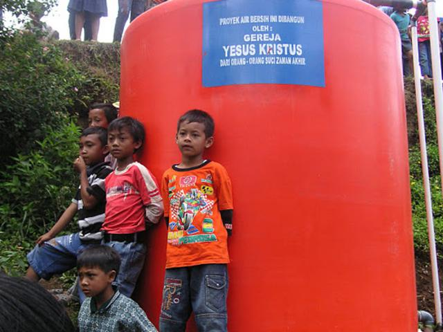 Fresh water is flowing for the first time to villages in Indonesia.
