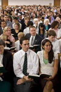 Members sitting in Sacrament Meeting